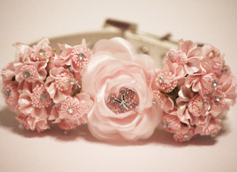 Pink Wedding Floral Dog Collar, pink butterfly Rhinestone