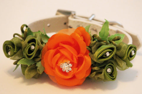 Orange Dark Green floral Dog Collar. Orange Flowe with Rhinestone and Green Flowers-High Quality Whitw Leather Collar, St Patricks Day