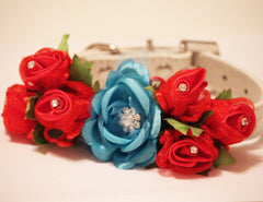 Red Blue Wedding Dog Collar. Red Blue Floral with Rhinestones -High Quality Whitw Leather Collar,  Wedding Dog Accessory - LA Dog Store  - 1