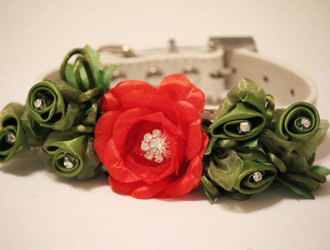Red Dark Green floral Dog collar, Rhinestones, Pet Wedding Accessory , Wedding dog collar
