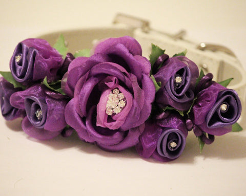 Purple Wedding Dog Collar. Purle Floral with Rhinestones -High Quality Leather Collar, Wedding Dog Accessory