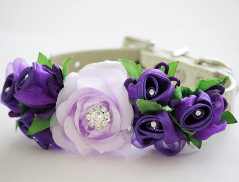 Lavender Dark Purple Wedding Floral dog collar, Wedding Dog Accessory