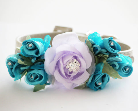 Light Purple Blue Wedding Dog Collar . Light Purple Blue Flowers with Rhinestones -High Quality Leather Collar, Wedding Dog Accessory