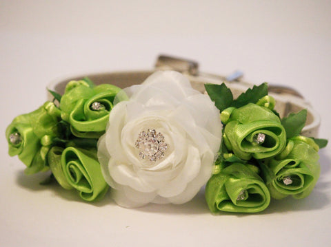 White and Lime Green Wedding Dog Collar, Pet Floral Lime green wedding