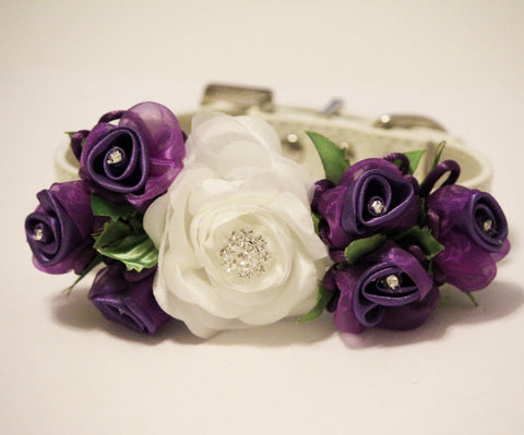 White Purple Wedding Dog Collar, Wedding Dog Accessory, floral wedding