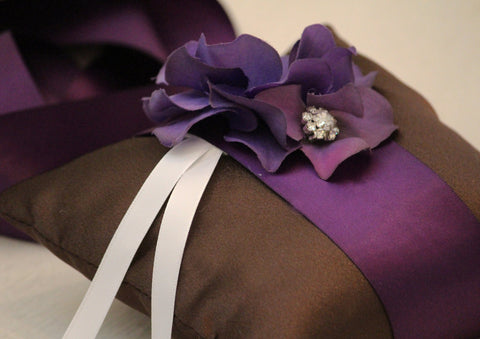 Purple Brown Pillow Wedding Ring for Dogs, Purple Flower on Brown Pillow with Rhienstone, Wedding Dog Accessory, Ring Bearer Pillow