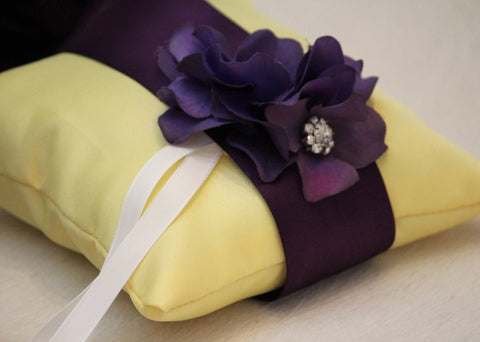 Yellow Pillow Wedding Ring for Dogs, Purple Flower on Yellow Pillow with Rhienstone
