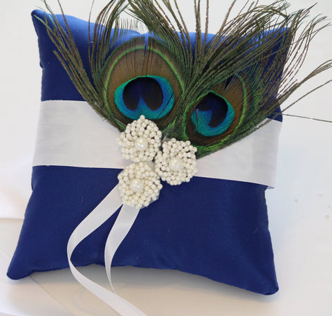 Navy Blue Ring Pillow for Dogs, Peafowl with Ivory Pearl, Pet Weddings, Bearer