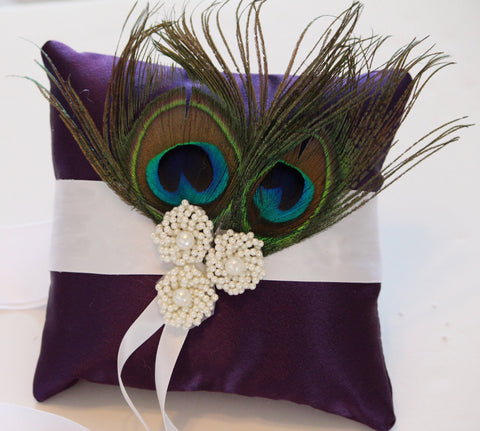 Purple Pillow Ring for Dogs, Feather on Purple Pillow with Ivory Pearl, Wedding Dog Accessory, Ring Bearer Pillow