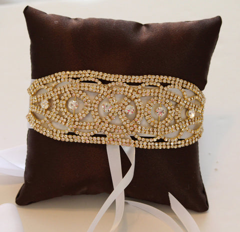 Brown Gold Ring Pillow for Dogs, Wedding Dog Accessory, Ring Bearer Pillow