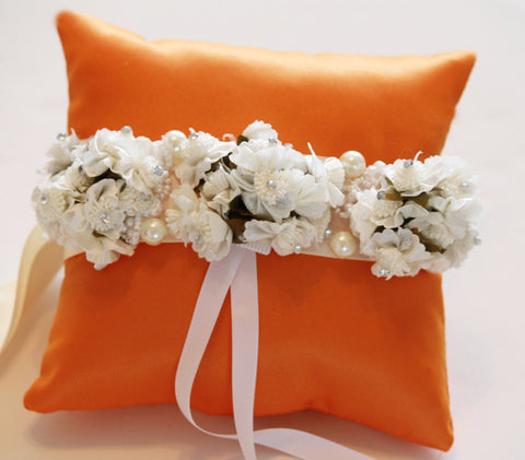 Orange Ring Pillow for Dogs, Ivory White Flowers on Orange Pillow , Wedding dog collar
