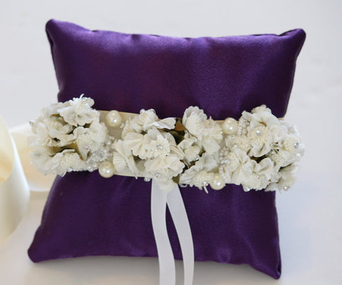 Purple ring pillow, pillow attach to dog collar , Wedding dog collar