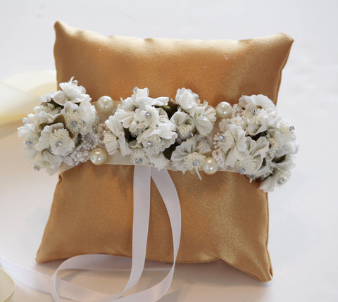 Gold Ring Pillow for Dogs, Ivory White Flowers, Wedding pets Accessory, Bearer