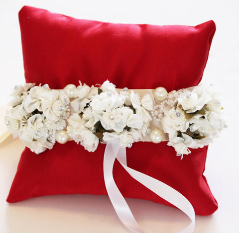 Ivory White Flowers on Red Ring Pillow, Wedding Dog Accessory, Ring Bearer , Wedding dog collar