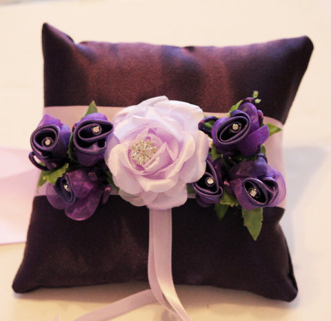 Purple Ring Pillow for Dogs, Floral Ring Bearer pillow Wedding Dog collar , Wedding dog collar