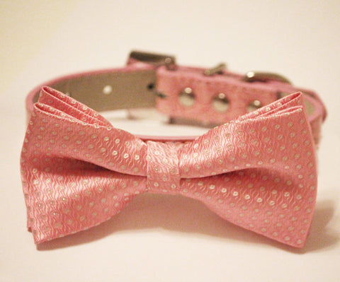 Pink Dog Bow Tie - Pink Dog Bow tie with high quality Pink leather, Chic and Elegent, Wedding Dog Accessory , Wedding dog collar
