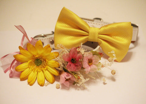 Yellow Pink Wedding Dog Collars -Two Chic Wedding Dog Collars, Yellow dog bowtie and Floral Dog Collar, wedding accessory
