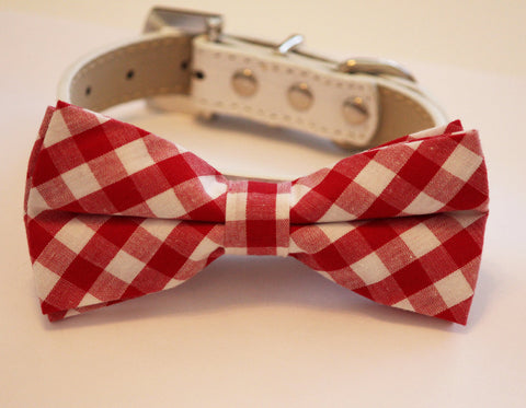 Plaid Red Dog Bow tie with High Quality White Leather Collar, Cute Dog Bow tie,Cute  Red Dog Bow tie , Wedding dog collar