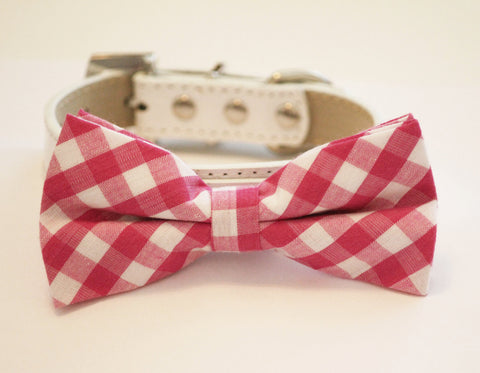 Plaid Pink Dog Bow tie with Collar, pink wedding pet ideas, plaid wedding