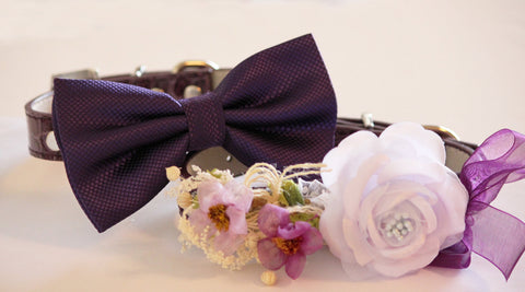 Purple Wedding Dog Collars, Purple Floral Dog Collar and purple Bow tie, High Quality Leather Collar, Wedding Accessory