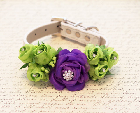 Purple Light Green Wedding Dog Collar, Floral Wedding Dog Accessory , Wedding dog collar