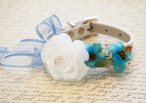 White Floral Dog Collar, pet wedding accessory, Something blue , Wedding dog collar