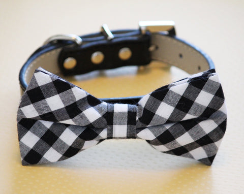 Plaid Black Dog Bow tie, Pet wedding accessory, Black and White wedding , Wedding dog collar