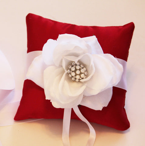 Red - White Ring Pillow for Dogs, Wedding Dog Accessory, Ring Bearer Pillow, Proposal Idea