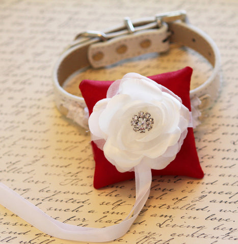 Red and White Ring Pillow for dogs attach to collar, Ring Bearer Proposal Idea