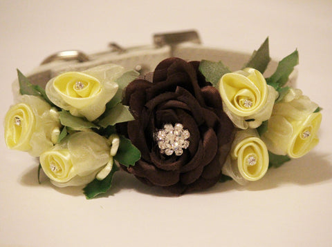 Brown & Yellow Wedding Dog Collar, Floral with Rhinestones, Rose Flowers