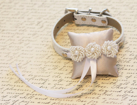 Ivory Pearl Ring Pillow, Pillow attach to Leather Collar, dog Ring Bearer Pillow, Pet wedding Accessory