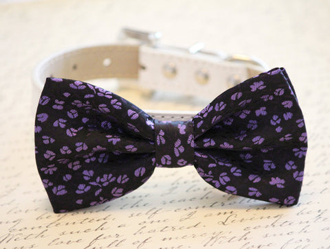 Black dog bow tie with small purple flowers Wedding Dog Collar, Purple Wedding