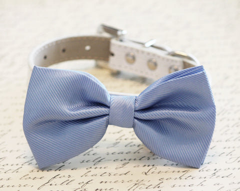 Blue Dog Bow Tie , High quality leather and Fabric, Wedding Dog Collar-Blue wedding accessory. Sky , Wedding dog collar