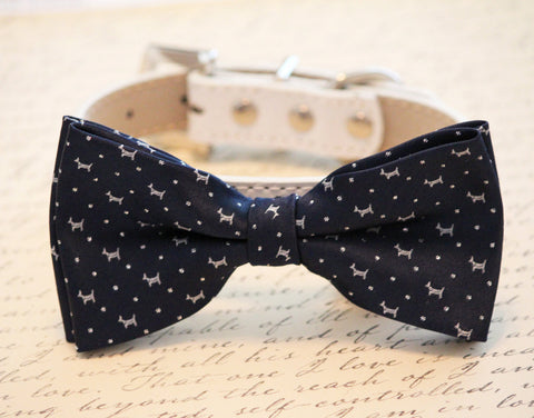 Navy Dog Bow Tie - Dog Bow Tie with high quality leather collar- Navy Wedding accessory, Navy Blue, Unique wedding gift
