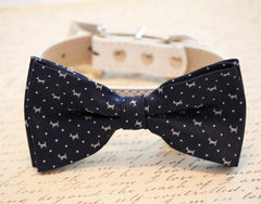 Navy Dog Bow Tie - Dog Bow Tie with high quality leather collar- Navy Wedding accessory, Navy Blue, Unique wedding gift - LA Dog Store  - 1