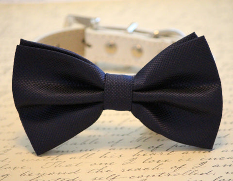 Navy Dog Bow Tie - high quality Leather and Fabric- Chic Wedding dog bow tie, Wedding accessory, Navy Blue dog bow tie