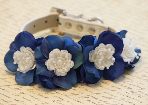 Blue Floral Dog Collar,  High Quality Collar - Wedding dog accessory, Some thing blue, Blue Touch , Wedding dog collar