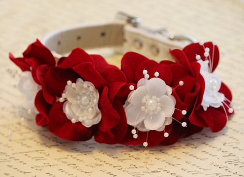 Red Ruby Floral Dog Collar, Red Ruby Wedding dog accessory, Valentines day gift
