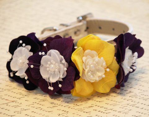 Yellow Purple Dog Collar, Yellow Purple Wedding, Floral Dog wedding pet collar