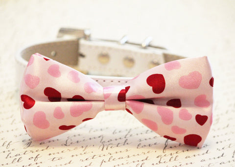 Pink Hearts Dog Bow tie, Cute chic dog bow tie- Wedding gift, Heart Pink Bow Tie