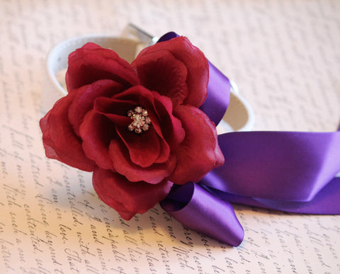 Burgundy Purple wedding Floral dog Collar, Wedding dog accessory