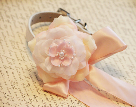 Pink Floral wedding dog collar, Pink flower with Peals, Wedding dog accessory, X Large dog collar