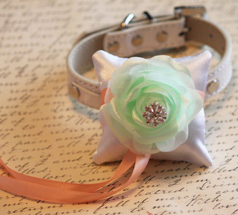 Mint Peach Ring Pillow , Pillow attach to the Leather dog Collar,Dog Ring Bearer Pillow, Pet Wedding accessory, Mint , Wedding dog collar