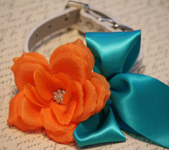Orange teal blue wedding dog collar, Orange flower with Rhinestone, Wedding dog accessory, Orange Teal Blue Wedding accessory - LA Dog Store  - 1