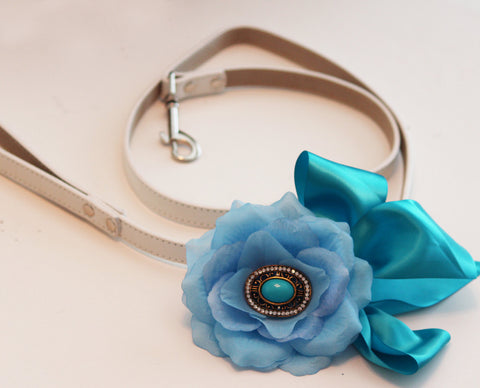 Teal Blue Floral Leash, Wedding accessorry, High quality Leather, Teal blue