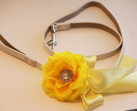 Yellow Floral Leash,Yellow wedding, Pet Wedding Accessory, Spring wedding, Custom Leash