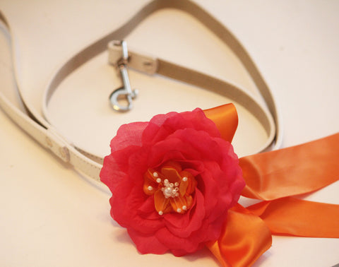 Hot Pink Orange Floral Leash, High quality Leather, Hot Pink  Orange wedding, Wedding accessorry