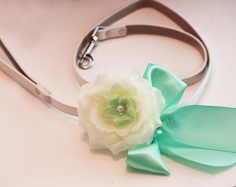 Mint Green Floral Leash, Wedding accessorry, High quality Leather, Mint Green wedding , Wedding dog collar