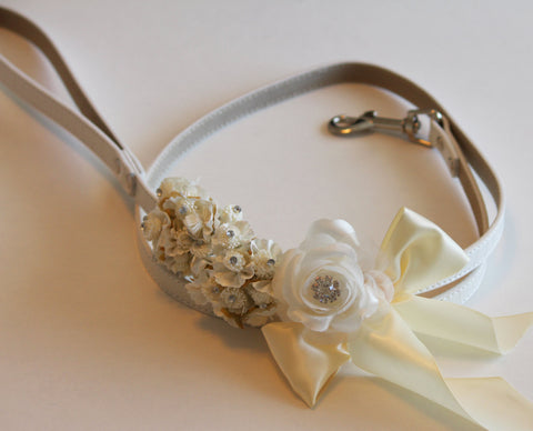 Ivory wedding, dog Leash, Wedding accessorry, High quality Leather, Ivory wedding accessory, Dog Leash