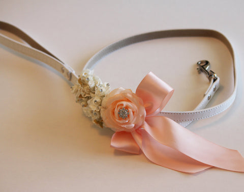 Peach Floral dog Leash, Wedding accessory, High quality Leather, Peach wedding accessory, Dog Leash